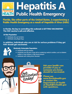 Hepatitis A Public Health Emergency flyer